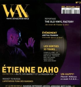 Pochette single Les flocons de l'été en couverture du magazine Wax Max de décembre janvier 2018