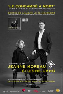 L'affiche annonçant les représentations du Condamné à mort avec Etienne Daho et Jeanne Moreau